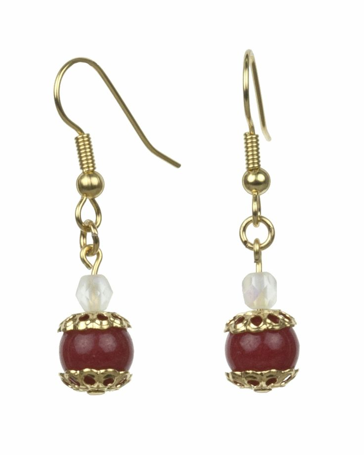 The Fancy Dark Red and Opal Gold Earrings are from the Everyday Essentials Collection by Lee Buchanan Jewelry. A Fire-polished Matte Opal bead is above a rich Mountain Jade bead encased in Fancy Round Bead Caps. Many of your favorite everyday and special occasion outfits will be enhanced when you wear these earrings. Add our Fancy Dark Red and Opal Gold Earrings to your jewelry collection today!