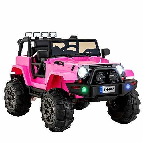 Girls Ride On Wild Jeep Off Road Pink 12V Electric AUX In RC
