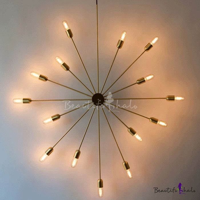 Novelty Shape Industrial Style 15 Bulbs 43'' W Large Starburst Wall Light in Gold Finish