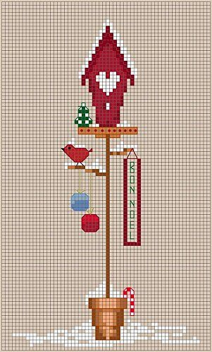 Cross-stitch Winter Birdhouse... no color chart available, just use pattern chart as your color guide.. or choose your own colors...    BIRDHOUSE - 12-December.jpg