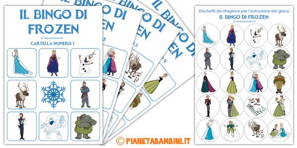 Gioco bingo di Frozen da stampare gratis