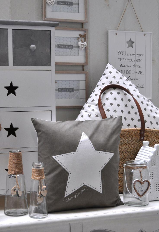 Shining For You | Stars | Grey | Romantic | Interior | Cushion | Pillow | White | Wood