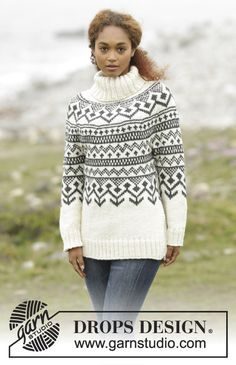 Black Ice by DROPS Design - a true classic jumper with gorgeous pattern. Free #knitting pattern