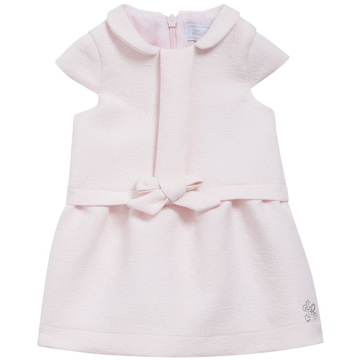 Short sleeves light pink dress with embossed floral motif  #outfit #FW15 #fall #winter #kidsfashion #pink #dress