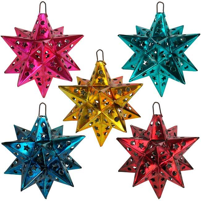 """Mexican Painted Tin Star Ornaments - Set of 5. These colorful punched tin star ornaments make great Christmas tree ornaments. 5.5"""" Diameter."""