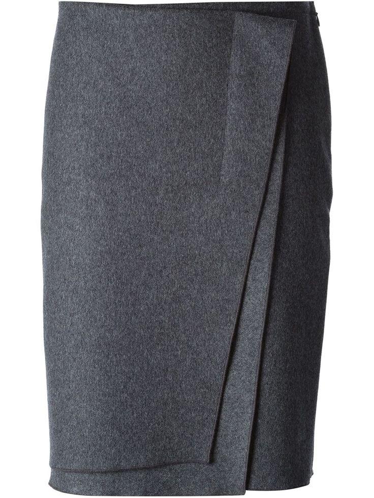 Nina Ricci Layered Wrap Skirt in Gray (grey) <3