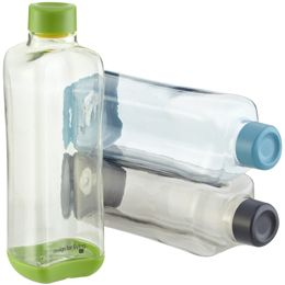 Stackable BPA free water bottles for the fridge, assign everyone a colour.