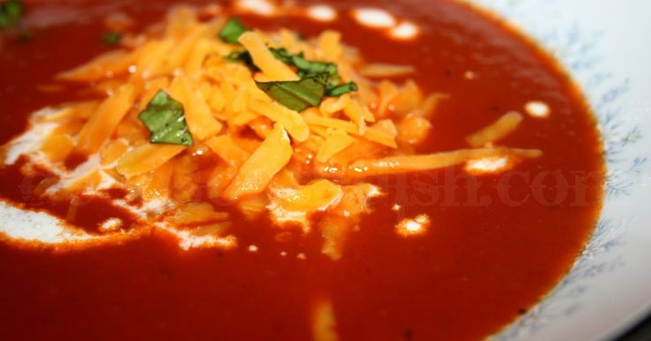 Tomato soup made from fresh garden tomatoes and sweet Vidalia onions. It's a light meal even on a hot summer day.