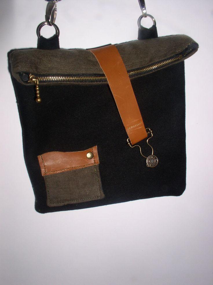 pochette en lin et laine recyclées : Sacs bandoulière par cuiretoile