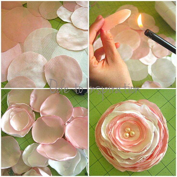 Satin Flower Hair Accessory - http://odetoinspiration.com/2012/05/satin-flower-hair-accessory/#
