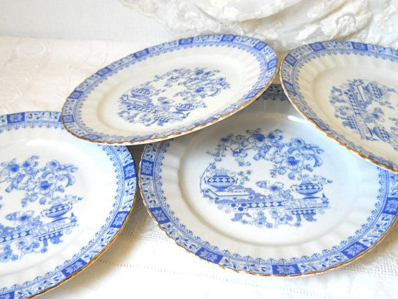 4 vintage blue breakfast plates blue side plates blue plates Seltmann Weiden Theresia vintage porcelain  shabby chic $23 etsy