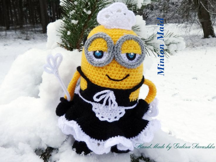 Minion Maid Doll - Crochet Minion Housekeeper House-cleaner Doll - Phil Minion Doll - Kids Gift-Knitted Minion-Soft Toy Crochet- (40.00 EUR) by MagicKnittedToysGift