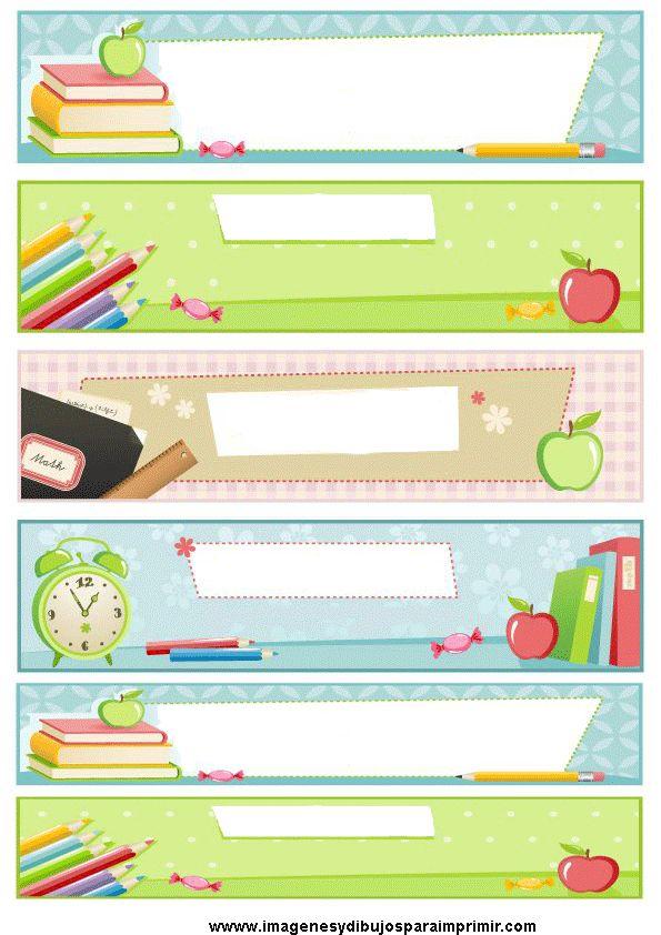 Etiquetas escolares para imprimir , clasifica tus libros libretas,folios, apuntes, con estas etiquetas con diseños escolares. en imagenesydi...