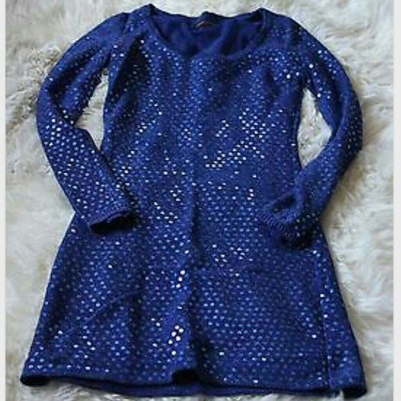 Betsey Johnson blue sequin dress or tunic sz Small Perfect condition. Betsey Johnson Dresses