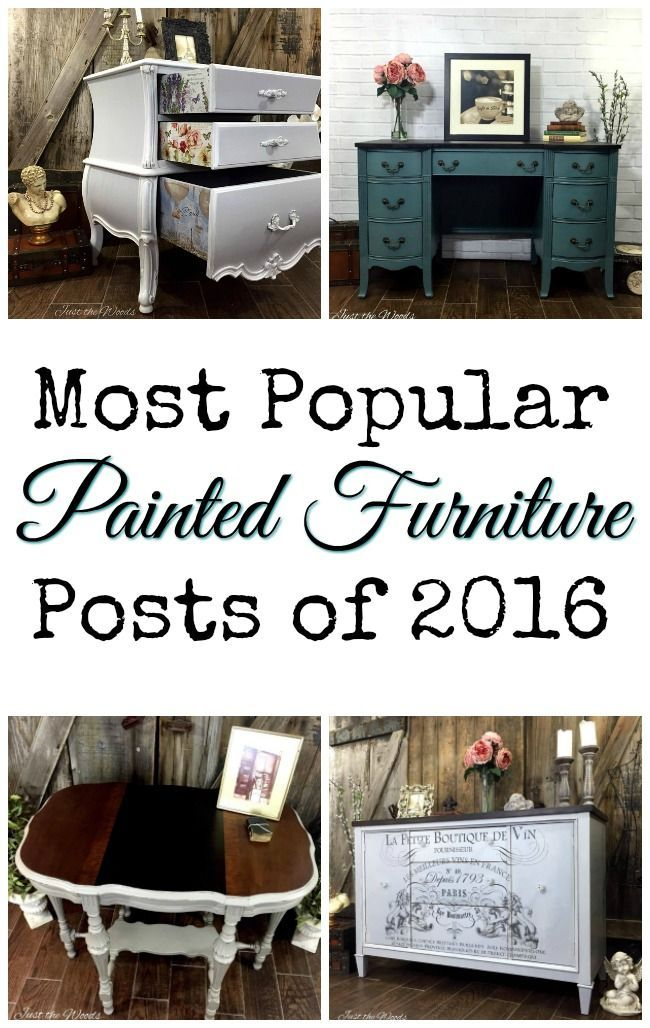 The most popular painted furniture posts of 2016, including a painted vintage desk, a bombe chest with decoupage, wood burning and more!