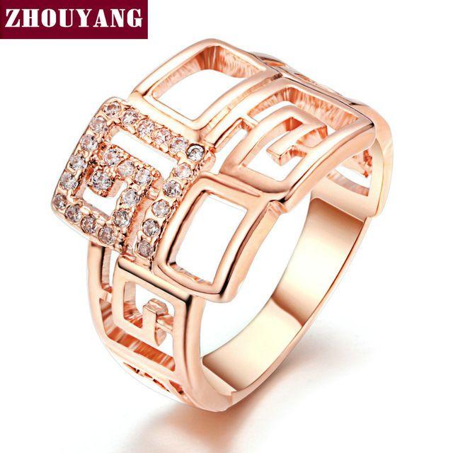 Роуз Позолоченные Геометрическая Свадьба & Обручальное Кольцо Ювелирные Изделия Сделано С AAA + CZ Для Женщин ZYR597