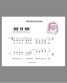 Primer level Christmas sheet music for the piano.