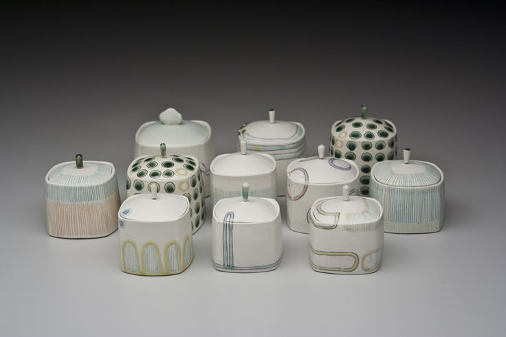 pretty little ceramic boxes by Janet Evans