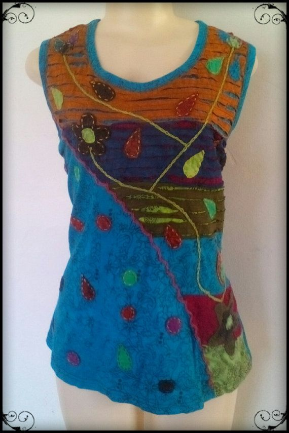 Pretty Summer top,Diagonal embroidered detail by hand,    Two colours Blue or Green,    medium size up to XXL big style cut. slightly stretchy,    looks great and good length for wearing with jeans, shorts, skirts etc.  Unusual clothing for unusual, unique people | Shop this product here: http://spreesy.com/Hippieshopsouthafrica/53 | Shop all of our products at http://spreesy.com/Hippieshopsouthafrica    | Pinterest selling powered by Spreesy.com