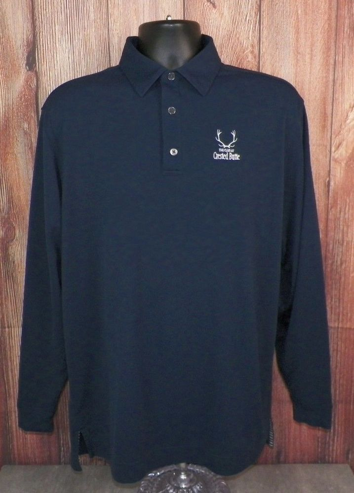 Footjoy Navy Blue Long Sleeve Golf Polo Shirt Mens Large EUC #4 #FootJoy #PoloRugby