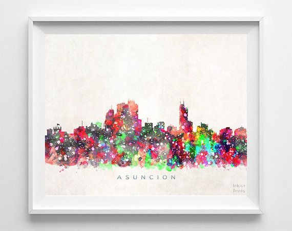 Asuncion Skyline Print Watercolor Painting by InkistPrints on Etsy