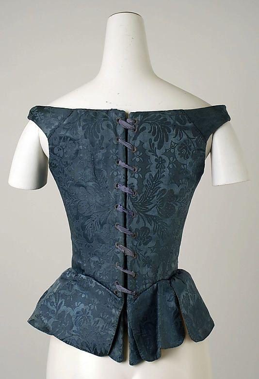 Corset  Date:late 18th century Culture:European  Medium:silk, baleen, leather, cotton