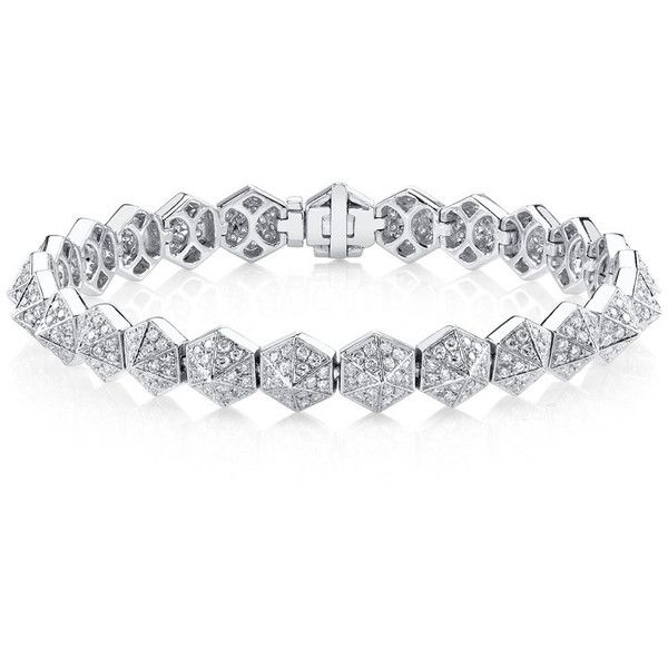 SIX-SIDED DIAMOND SPIKE BRACELET ($16,800) ❤ liked on Polyvore featuring jewelry, bracelets, diamond jewelry, spike bracelet, diamond bangle, bracelet jewelry and pave diamond bangle