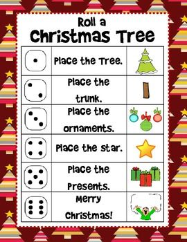 Christmas Roll and Draw a Christmas Tree (2 games in 1)