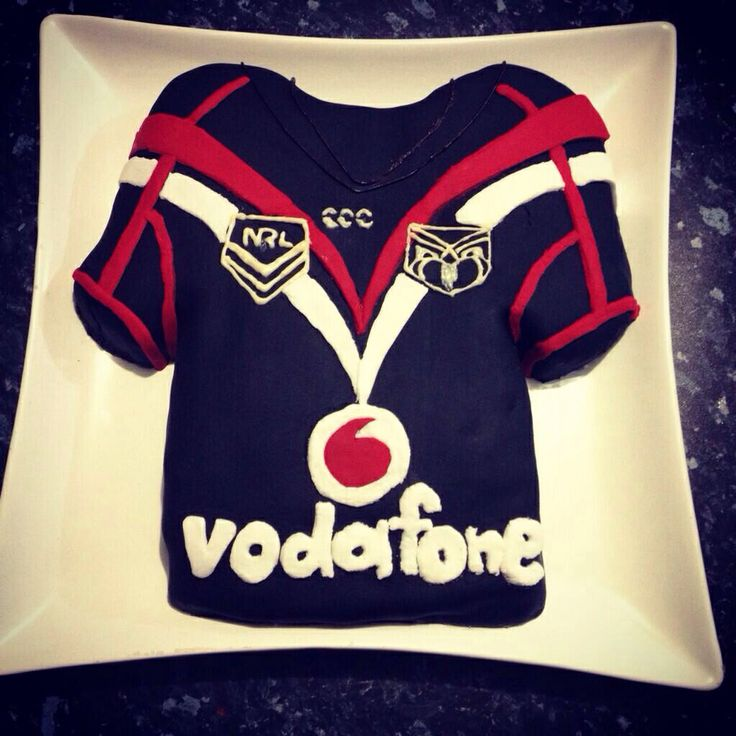 Vodafone Warriors inspired birthday cake #Cake #Warriors #Jersey