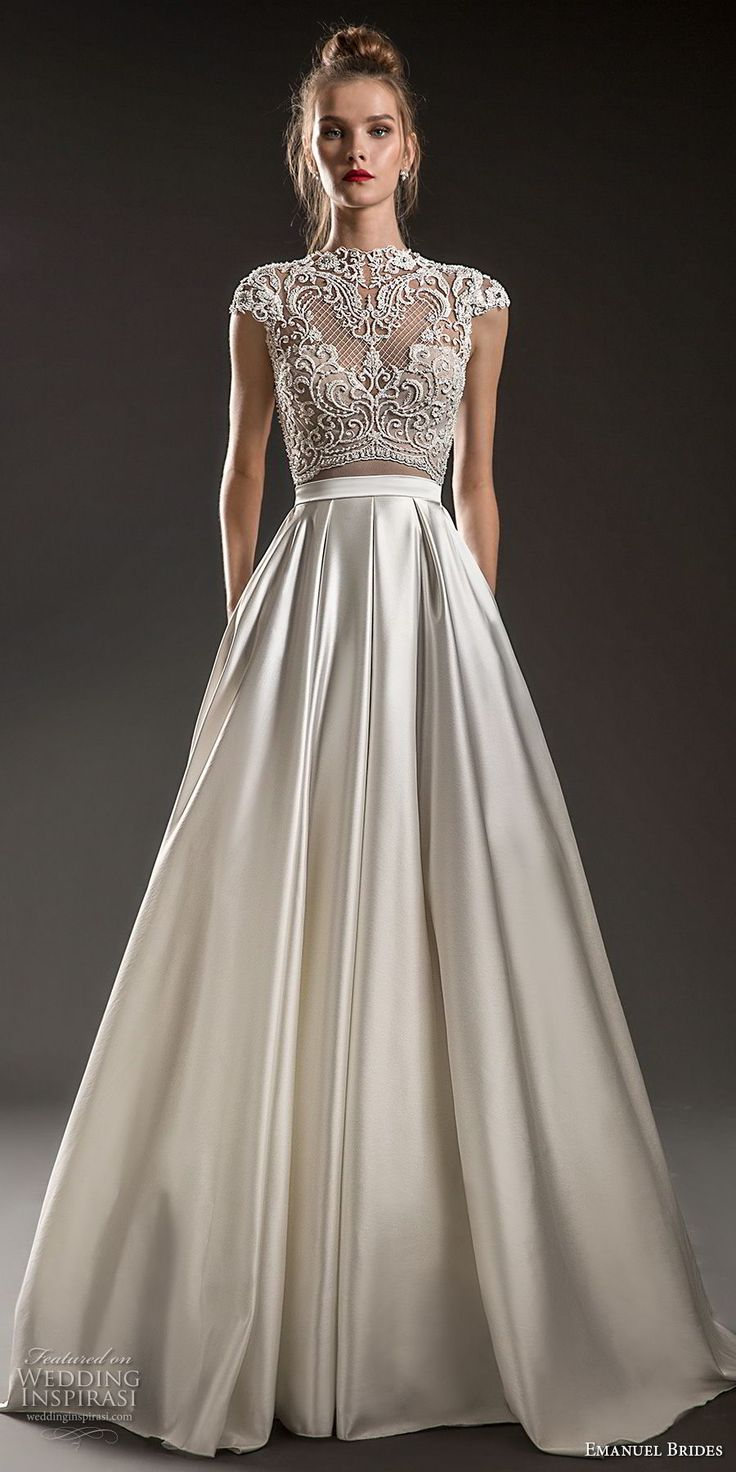emanuel brides 2018 bridal cap sleeves jewel neckline heavily embellised bodice crop top satin skirt glamorous a  line wedding dress covered lace back sweep train (05) mv -- Emanuel Brides 2018 Wedding Dresses