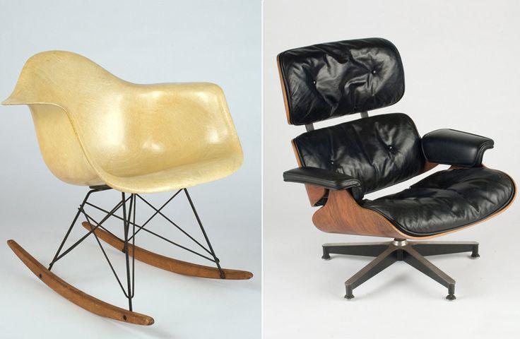 À esquerda, o modelo RAR (1950); à direita, a Lounge Chair, um dos designs mais marcantes do casal. Crédito: Divulgação / Eames Designs