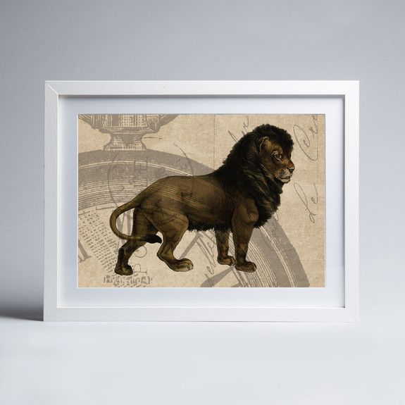 Vintage Papers - Lion - Framed print