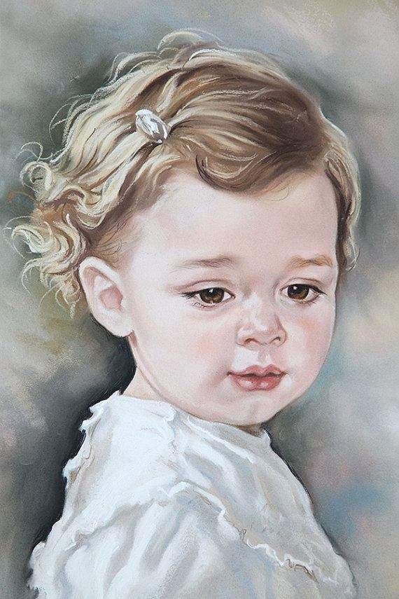 Custom Pastel portrait of a baby girl. Baby portrait by BograArt