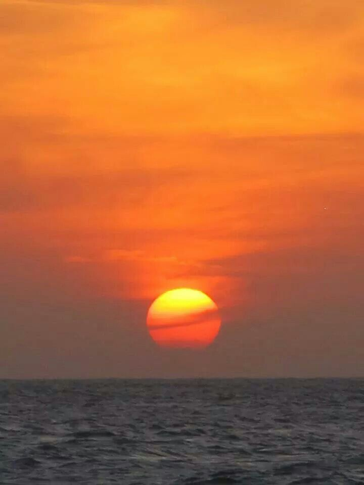 Setting sun over the Carribean Sea, Cartagena, Colombia