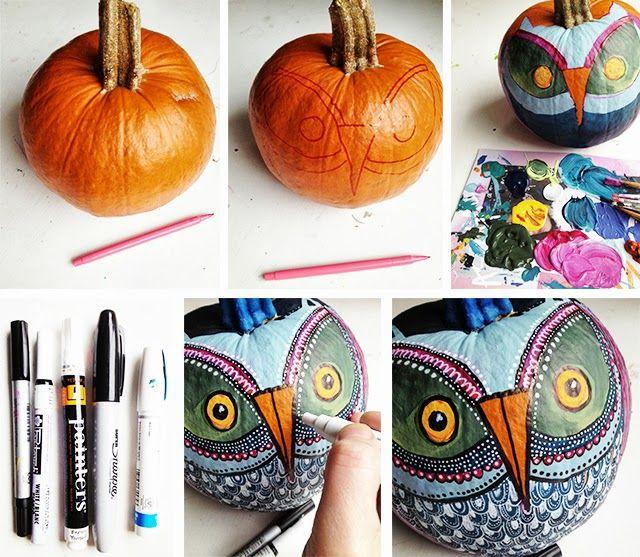 alisaburke: painted owl pumpkins