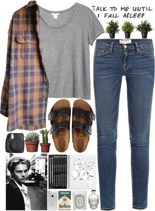 gorgeous idea to combine things i love: birkenstocks, plaid, basics and blue jeans.  but i abominate cigarettes