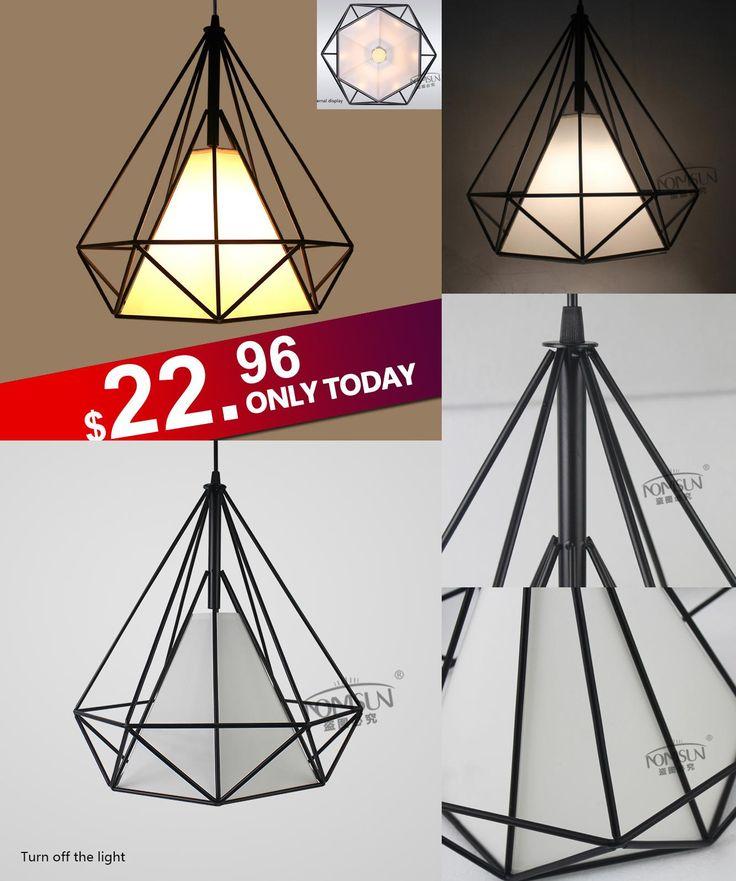 [Visit to Buy] modern black birdcage pendant lights iron minimalist retro light  Scandinavian loft  pyramid lamp metal cage with led bulb #Advertisement