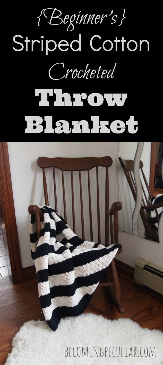 DIY striped black and white crocheted throw blanket tutorial. Made from cotton, so it's perfect for summer! Also very easy - a perfect project for the beginner crocheter.
