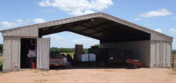shipping container horse barn | Two 40 ft. containers used as walls for barn or workshopprovides ...