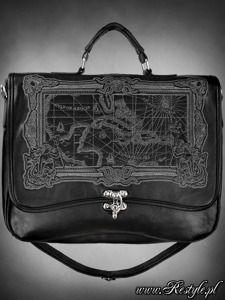"28,80e Black Briefcase ""MAP BLACK"" gothic satchel bag A4 MAP of Caribbean sea"