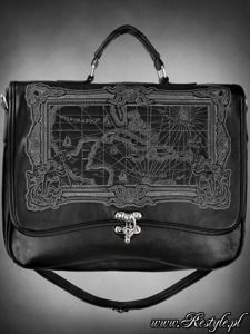 "28,80e Black Briefcase ""MAP BLACK"" gothic satchel bag A4 MAP of Caribbean sea"