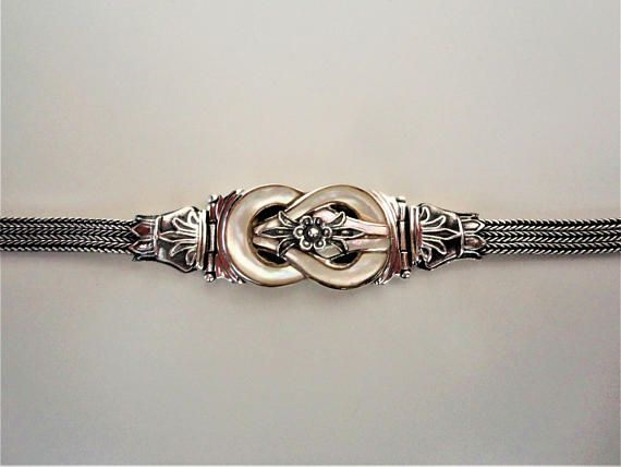 Hercules Knot 925 Sterling Silver Bracelet with Mother of