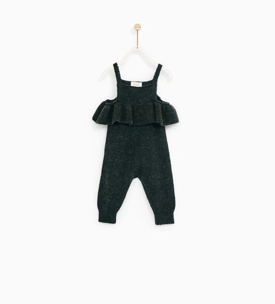 Image 1 of KNIT DUNGAREES WITH RUFFLE TRIM from Zara