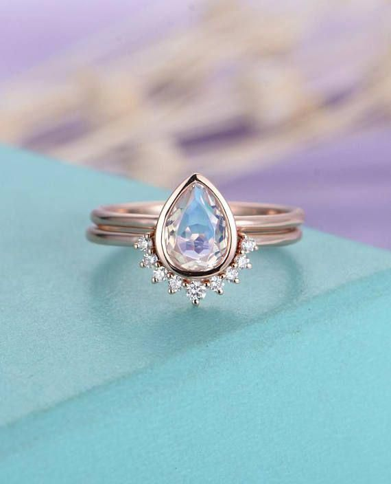 Moonstone Engagement Ring Rose Gold Vintage Delicate Diamond Wedding women  Bridal set jewelry Simple Pear Shaped Cut Stacking Anniversary Meet the  vintage ... 18c42e0618b3