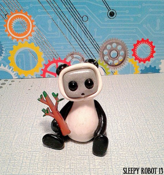 Robot in a Panda Costume by sleepyrobot13 on Etsy, $12.00-- alicia