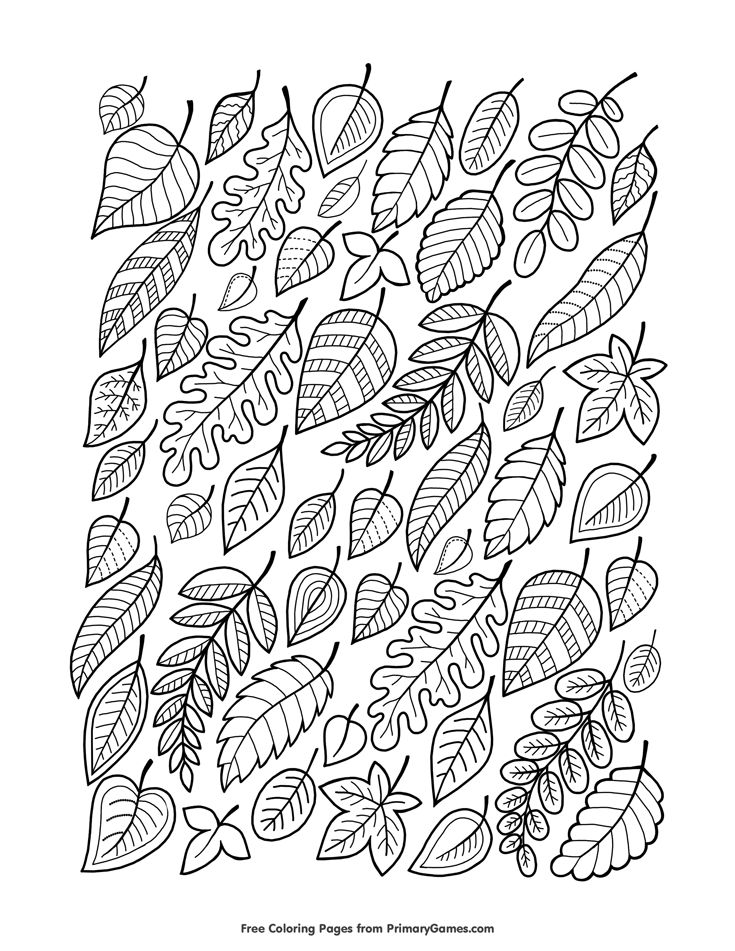 Fall Coloring Page Falling Leaves Free Printable Pages For Use In Your Classroom Or Home From PrimaryGames