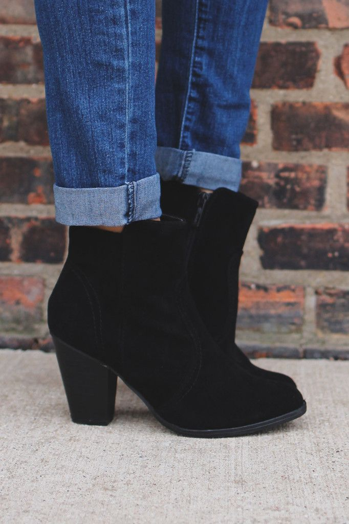 Black Faux Suede Round Toe Chunky Heel Bootie – UOIOnline.com: Women's Clothing Boutique