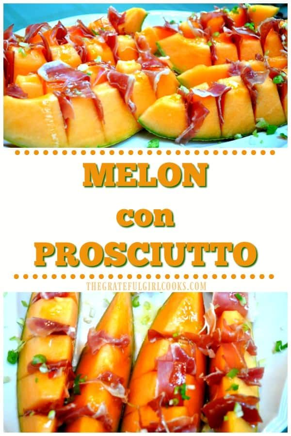 A refreshing, easy to create appetizer or side dish, with fresh, chilled ripe cantaloupe and prosciutto slices...  perfectly delicious on a warm Spring or Summer night! via @gratefuljb