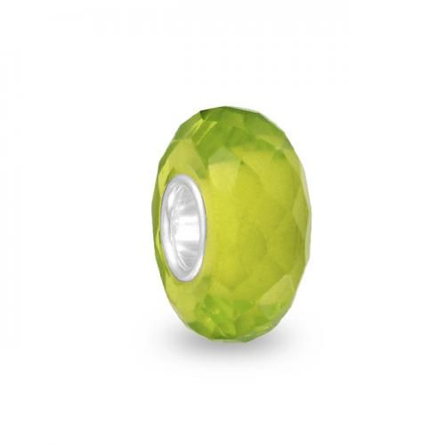 Peridot 925 Sterling Silver Faceted Crystal Bead Compatible with Pandora Chamilia
