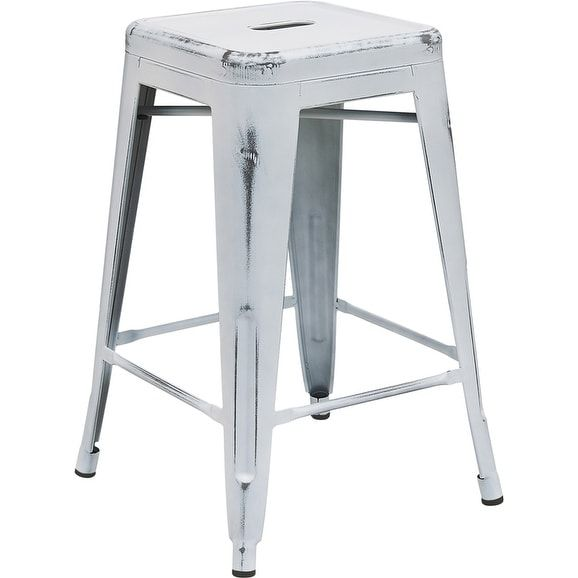 iHome Brimmes 24'' High Backless Distressed White Metal Indoor/Outdoor/Patio/Bar Counter Height Stool